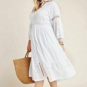 NWT Anthropologie Ebba White Eyelet Midi Dress 16W